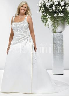 $324.99Straps Satin #A-Line Bridal #Gown With Appliques