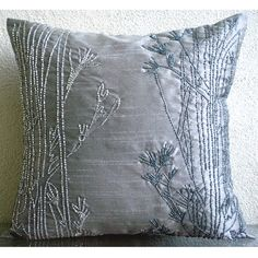 Throw Pillow Covers Accent Pillow Decorative Pillow Couch Pillow Sofa Pillow 16x16 Inches Silk Pillow Cover Bead Embroidery Willow Sparkle on Etsy, $25.50