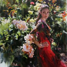 Original Painting, In the Rose Garden by Michael & Inessa Garmash