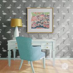 Retro or Modern Home Decor Projects - Flamingo Deco Wall Stencils - Royal Design Studio