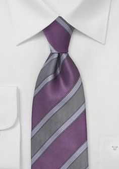 When to Wear and How to Match Purple Colored Ties:    Purple is a tricky color for men. While some consider purple to be a flamboyant color others think of purple as fashionable, trendy, and metro-sexual. Since purple in men's fashion is a little controversial you will be better off not wearing a purple tie to a job interview or in a conservative business environment. Lighter shades of purple such as lavender are popular colors for spring and summer weddings..