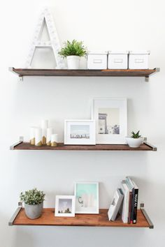 IKEA HACK DISTRESSED WOODEN SHELVES