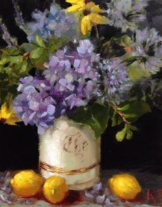 "Daily Paintworks - ""Hydrangeas in vintage tea jar"" - Original Fine Art for Sale - © Krista Eaton"