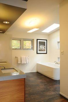 Modern master bathroom.  Large format tile