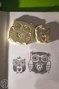 Bijoux, cailloux, choux, genoux... hiboux ! Owl stamps