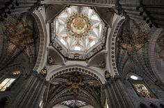 Croisée du transept et tour-lanterne, cathédrale de Nuestra Señora de la Huerta, style gothico-mudejar, Tarazona, province de Saragosse, Ara...