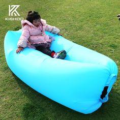 Fast Inflatable Laybag Air Sleeping Bag Camping Portable Air Sofa Beach Bed Air Hammock Nylon Lazy Bag Lounger