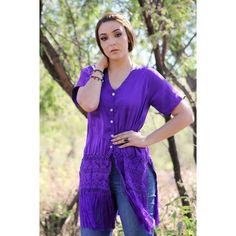 Purple Silk-Linen Blouse