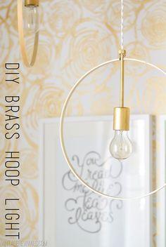 DIY Wood and Brass Hanging Hoop Pendant Light Diy Interior, Salon Interior Design, Hanging Light Fixtures, Hanging Lights, Diy Hanging, Diy Pendant Light, Pendant Lighting, Decor Crafts, Diy Home Decor