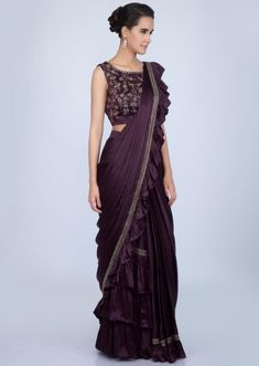 ab787e506 Dark violet ready pleated satin saree with frilled pallo only on Kalki