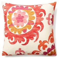 Check out this item at One Kings Lane! Suzani Garden 20x20 Cotton Pillow, Coral