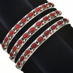 b098b7bd2 Navajo Red Coral Silver Row Bracelet Sterling Ladies Cuff Red Coral,  Navajo, The Row