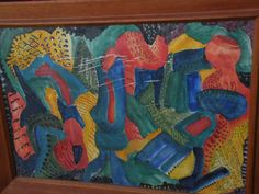 Modernist abstract watercolor painting signed by listed artist EVA from jbfinearts on Ruby Lane