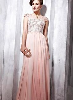 Floor Length Pink Dress in Pink & Silver,  Dress, Prom Dress  Sleeves  Beaded  Mesh, Chic