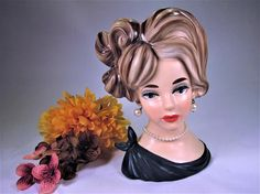 LADY HEAD VASE  Napco  7 1/4 Tall C-7294  Mid Century