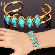 U7 Turquoise Bracelets For Women Trendy Gold Plated Turkish Jewelry Wholesale Vintage Fashion Cuff Bracelets Bangles H707