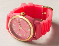 I've been so into watches lately.. check this pink one with the gold trim out!