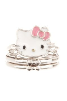 Hello Kitty Face and Stackable Rings with Bow Detail - HauteLook