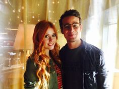 Clary (Katherine McNamara) and Simon (Alberto Rosende) on set for #Shadowhunters