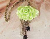 Romantic flower rose necklace by 4tasteofshabbychic on etsy