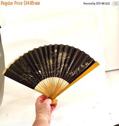 SPRING SALE Vintage ASIAN wood  bamboo Fan Foldable wood fan black floral motif