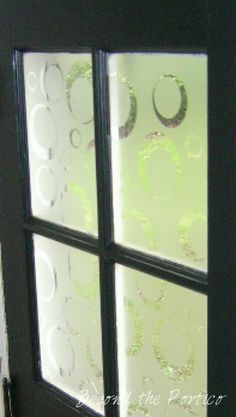 IS IT FROSTED GLASS? Done With Contact Paper, Cut Bubble Circle Designs More