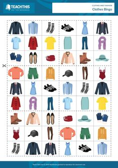 ESL Clothes Vocabulary Game - Listening, Matching and Speaking Activity - Beginner - 25 minutes In this enjoyable teaching activity, students play games of bingo to practice clothes vocabulary. Source by teach_this vocabulary Vocabulary Clothes, Vocabulary Worksheets, Vocabulary Activities, Teaching Activities, English Vocabulary, Vocabulary Strategies, Listening Activities, Spelling Activities, Teach English To Kids