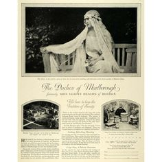 Charles Spencer-Churchill, 9th Duke of Marlborough, divorced Consuelo Vanderbilt in 1920 and married Gladys Deacon. This 1927 print ad for Pond's featured the new Duchess.