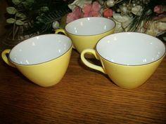 Yellow Tea Cups Coffee Beverage Serving Set of by TKSPRINGTHINGS