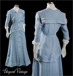 Edwardian Linen Promenade dress c1910. Beautiful French Blue Linen, Tunic style top, Middy collar, and white crochet trim