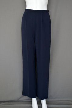 Carlisle High Waist Silky Trouser Pants Navy Blue