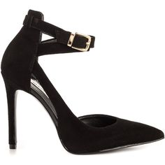 Guess Footwear Women's Ambelu - Blk Suede (630 HRK) ❤ liked on Polyvore featuring shoes, pumps, heels, black, black d orsay pumps, high heel stilettos, d'orsay pumps, black stiletto pumps and suede pumps