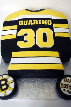 Birthday Cakes - Bruins cake for a 30th birthday, Cake carved into shirt shape and covered in fondant. All hand cut letters and number 30. LOVED this Cake! <3