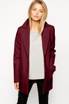 Pantone Presents Its 2015 Color of the Year Marsala - Ultimate Slim Coat by ASOS Navy Coat, Pantone Color, Pantone 2015, Color Negra, Neue Trends, Autumn Winter Fashion, Mantel, Love Fashion, Casual