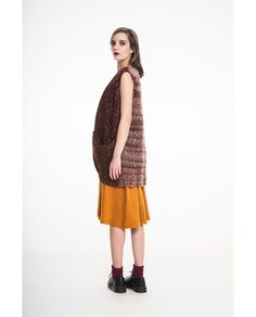 Hand knitted/jersey vest Hand Knitting, Midi Skirt, Fall Winter, Normcore, Vest, Skirts, Blue, Style, Fashion