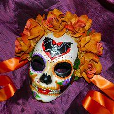 Bat Skeleton Day of the Dead Dia de los Muertos Mask. $59.00, via Etsy.
