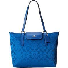 Bright Blue Coach Signature Ward Tote Bag