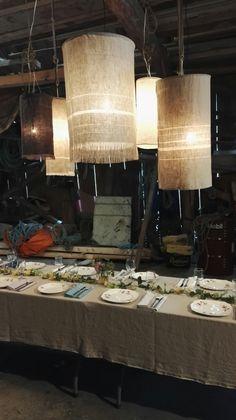 Rustikke lanterner i lin - rustic linen lantern lampshade by @godull_godlin Interior inspiration dining. Linen lamp Linen Towels, Home Textile, Linen Bedding, Stove, Chandelier, Ceiling Lights, Design, Home Decor