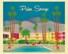 Palm Springs, California wall art is available in an array of finishes, materials, and sizes, this retro inspired wall art will make Palm Springs feel close to your heart with its bright color palette
