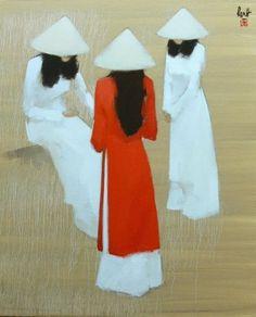 Three Saigon ladies oil painting