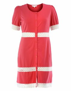 Crotchet-panel buttoned dress in Coral-Orange / White designed by Manon Baptiste to find in Category Dresses at navabi.de $299.90