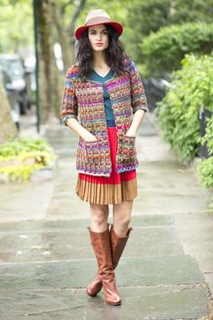 Wow, way to rock the color and design, Lion Brand! Colorfully Modern Cardigan - free pattern