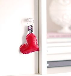Simple and cute gift for Valentine's day. Leather keychain heart