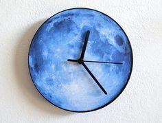 Blue Moon  Wall Clock by ObjectIndustrialArt on Etsy, $14.90
