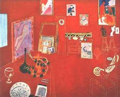 Henri Matisse - 'The Red Studio'. The graphic nature of this painting really appeals to me, the play of space and use of line that just gives enough visual hint that you're not just looking at a flat surface. And the paintings, wine glass etc brings in a sense of life and energy to what just seems a still life.
