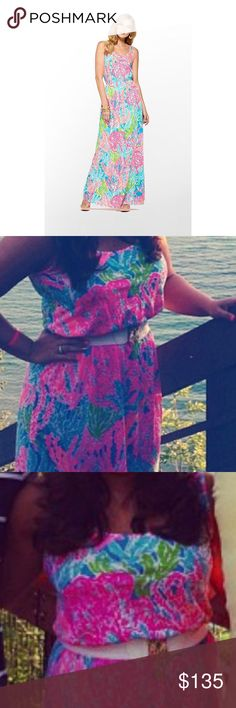 Lilly Pulitzer Lets Cha Cha Maxi Dress Worn twice, great condition! First picture is the stock picture, the second two are me wearing it, but the lighting is bad. If you want me to take a picture of the actual dress, please just ask! The white Lilly Pulitzer belt in my pictures do not come with the purchase. Please feel free to ask questions :) Lilly Pulitzer Dresses Maxi