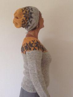 Sarah Lund sæt - sweater og hue - i dejlige farver