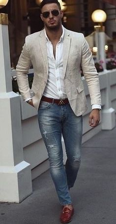 Hombre moda casual - Fashion Tutorial and Ideas Blazer Outfits Casual, Stylish Mens Outfits, Mens Fashion Summer Outfits, Mens Dress Outfits, Outfits Hombre, Outfit Jeans, Casual Attire, Dress Casual, Casual Wear