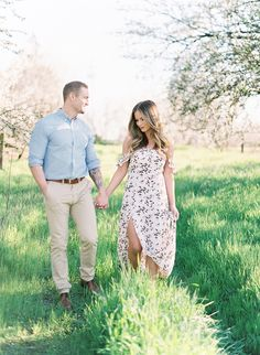 Springtime Engagement Photos in an Almond Orchard - Inspired By This