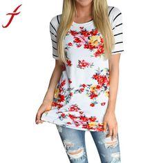a9976957c01f6 T Shirt Women Short Sleeve Tops Flower Printed Casual Round neck Striped  Tops Tee Shirt Femme